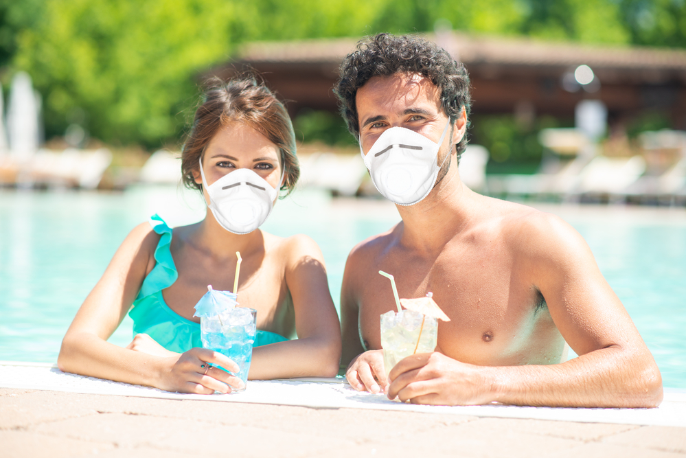 Vacation during coronavirus pandemic, funny concept